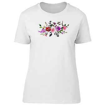 Pink Coral Flowers Green Leaves Tee Women's -Image by Shutterstock