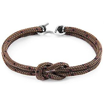 Anchor and Crew Foyle Silver and Rope Bracelet - Brown