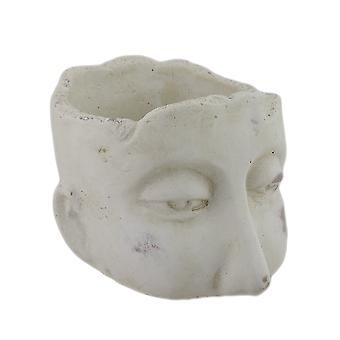 Weathered Finish Small Sculptural Cement Head Planter 5.25 In.