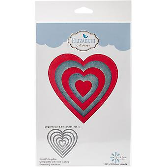 Elizabeth Craft Metal Die-Stitched Hearts, Largest 5.3