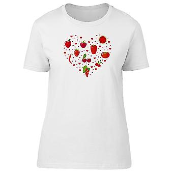 Red Fruits And Vegetables Heart Tee Women's -Image by Shutterstock