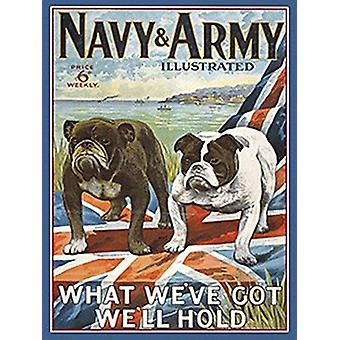 Navy And Army Dog Large Steel Wall Sign 400Mm X 300Mm
