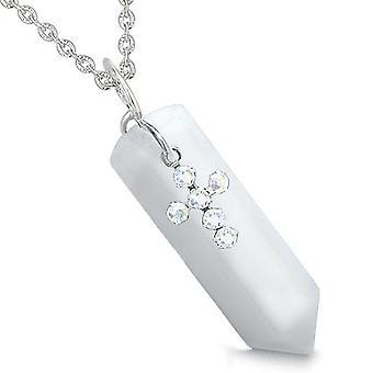 Amulet krystal punkt Holy Cross Swarovski elementer charme hvid Jade åndelige vedhæng halskæde
