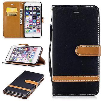 Tasche für Apple iPhone 6 / 6s Jeans Cover Handy Schutz Hülle Case Schwarz