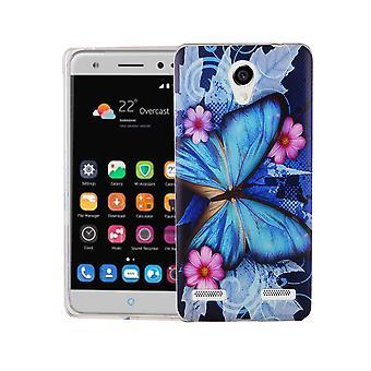 Handy Hülle für ZTE Blade L7 Cover Case Schutz Tasche Motiv Slim Silikon TPU Blauer Schmetterling