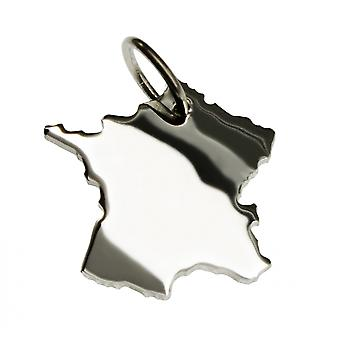 Trailer map France necklace solid 925 Silver