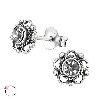 Flower Crystal From Swarovski® - 925 Sterling Silver Ear Studs - W30072x