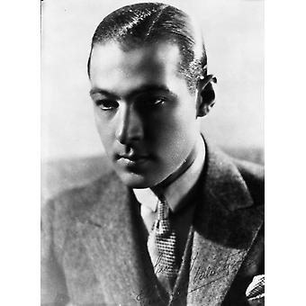 Rudolph Valentino Portrait in Coat in Black and White Photo Print