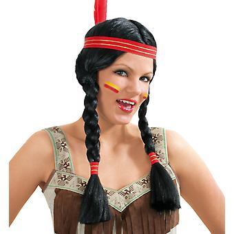 Indio de americano nativo Sioux Squaw peluca trenzas
