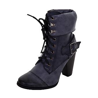 Ladies Lace Up Front Slip On Women's PU Faux Leather Chunky Heel Boots