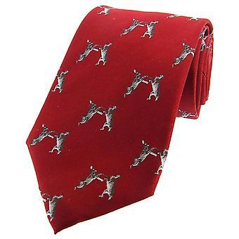 David Van Hagen boksen hazen geweven land zijden stropdas - rood