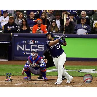 Jesus Aguilar Home Run Game 1 of the 2018 National League Championship Series Photo Print