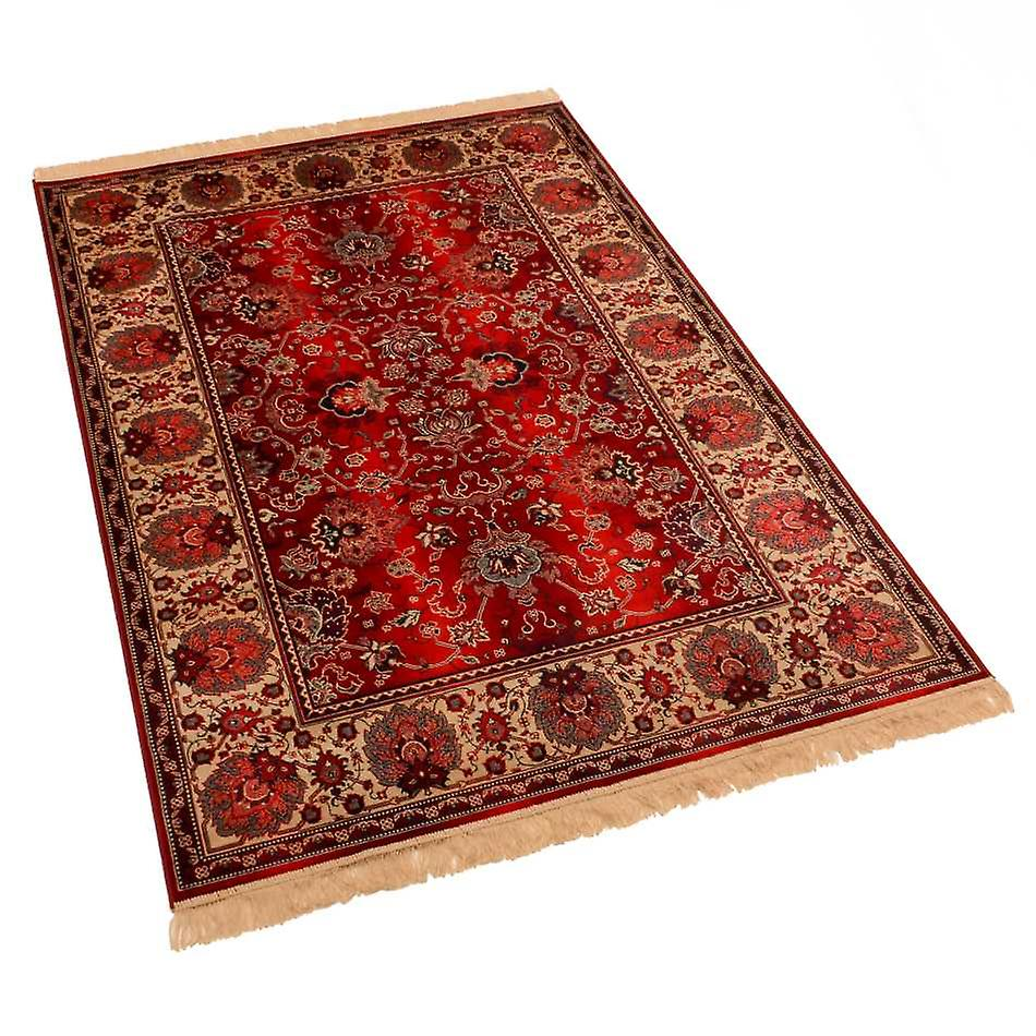 Red Indian Agra Artificial Faux Silk Effect Antislip Rugs 4620/12 140 x 200cm