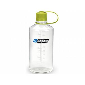 Nalgene Narrow Mouth 1L/32oz Clear Tritan Bottle with Green Loop Top Lid