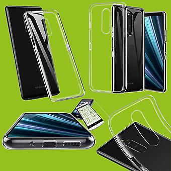 Silikoncase ultra thin envelope bag transparent + tempered glass 0.3 mm H9 for Sony Xperia 1 6.5 inch