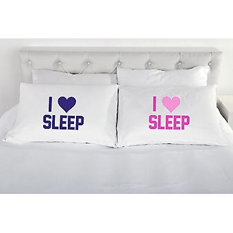 I Love Sleep Pair of Pillow Cases