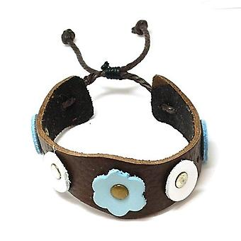 The Olivia Collection Genuine Leather Flower and circle design Wristband