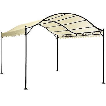 Abri voiture tente tonnelle barnum pavillon de jardin métal beige 2201006