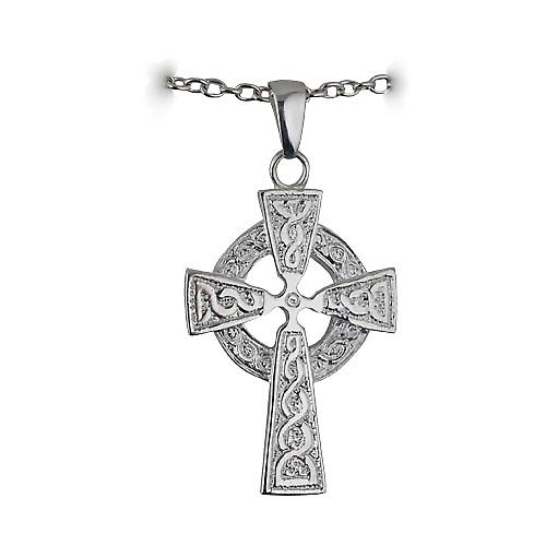 Silver 41x29mm embossed knot design Celtic Cross with bail on a cable Chain 18 inches