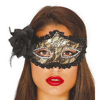 Womens goud masker met Rose Fancy Dress accessoire