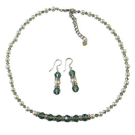 Pistachio Swarovski Erinite Crystals w/ White Pearls Rondells Jewelry