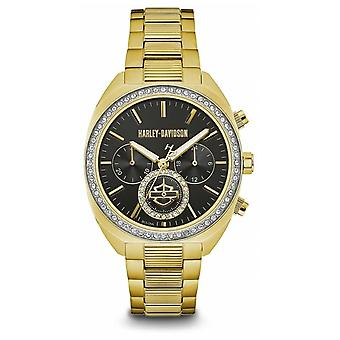 Harley Davidson Women's Crystal Set | Black Dial | Gold Stainless Steel 77M103 Watch