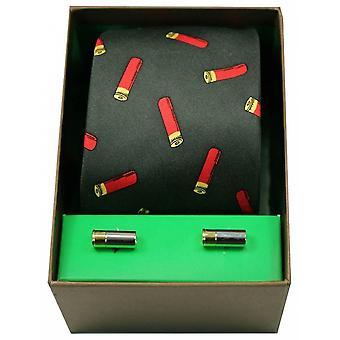 David Van Hagen pistolet wkłady krawat i spinki zestaw - zielony/czerwony
