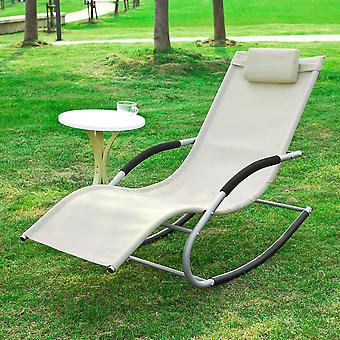 SoBuy jardin Rocking chaise inclinables avec repose-pieds, Beige, OGS28-MI