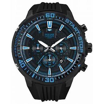 Pulsar Mens X Chronograph Black and Blue PT3507X1 Watch