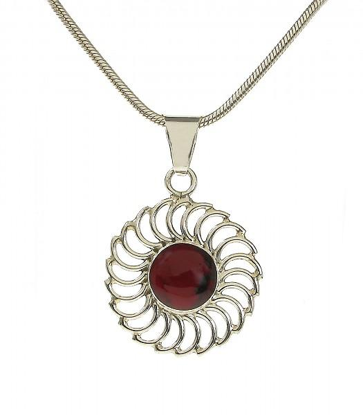 Cavendish French Silver and Red Jasper Sun Pendant