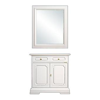 Cupboard with mirror composition in solid wood