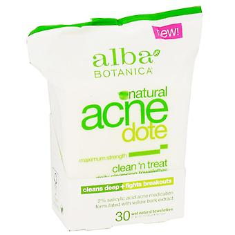 Alba botanica acne dote, daily cleansing towelettes, oil free, 30 ea