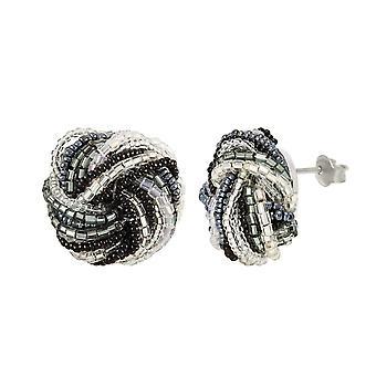Eternal Collection Storm Murano Glass Torsade Pierced Earrings