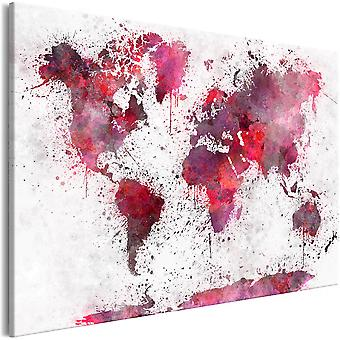 Canvas Print - World Map: Red Watercolors (1 Part) Wide
