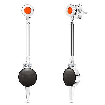 Oklahoma State University Two-Tone Enamel Dangle Earrings In Dark Orange And Black