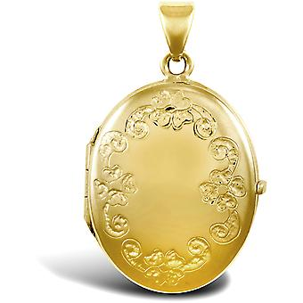 Jewelco London Ladies 9ct Yellow Gold Floral Frame Oval Locket Pendant