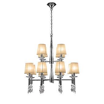 Mantra M3850 Tiffany Pendant 2 Tier 12-12 Light E14-G9, Chrome poli avec des nuances de bronze doux - Cristal clair