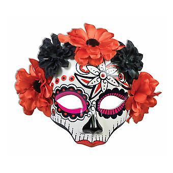 Day Of The Dead Red Senorita Flowers Mexican Skull Women Costume Female Mask