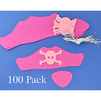 SALE - 100 Pink Card Pirate Hats & Patches Kit for Girls Parties & Crafts