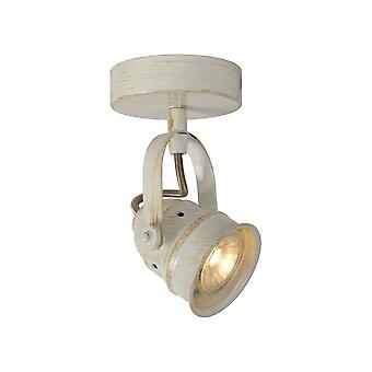 Lucide Cigal Cottage Round Metal Antique White Ceiling Spotlight