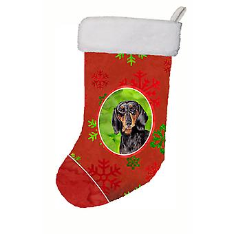 Dachshund Red and Green Snowflakes Holiday Christmas Christmas Stocking SC9403