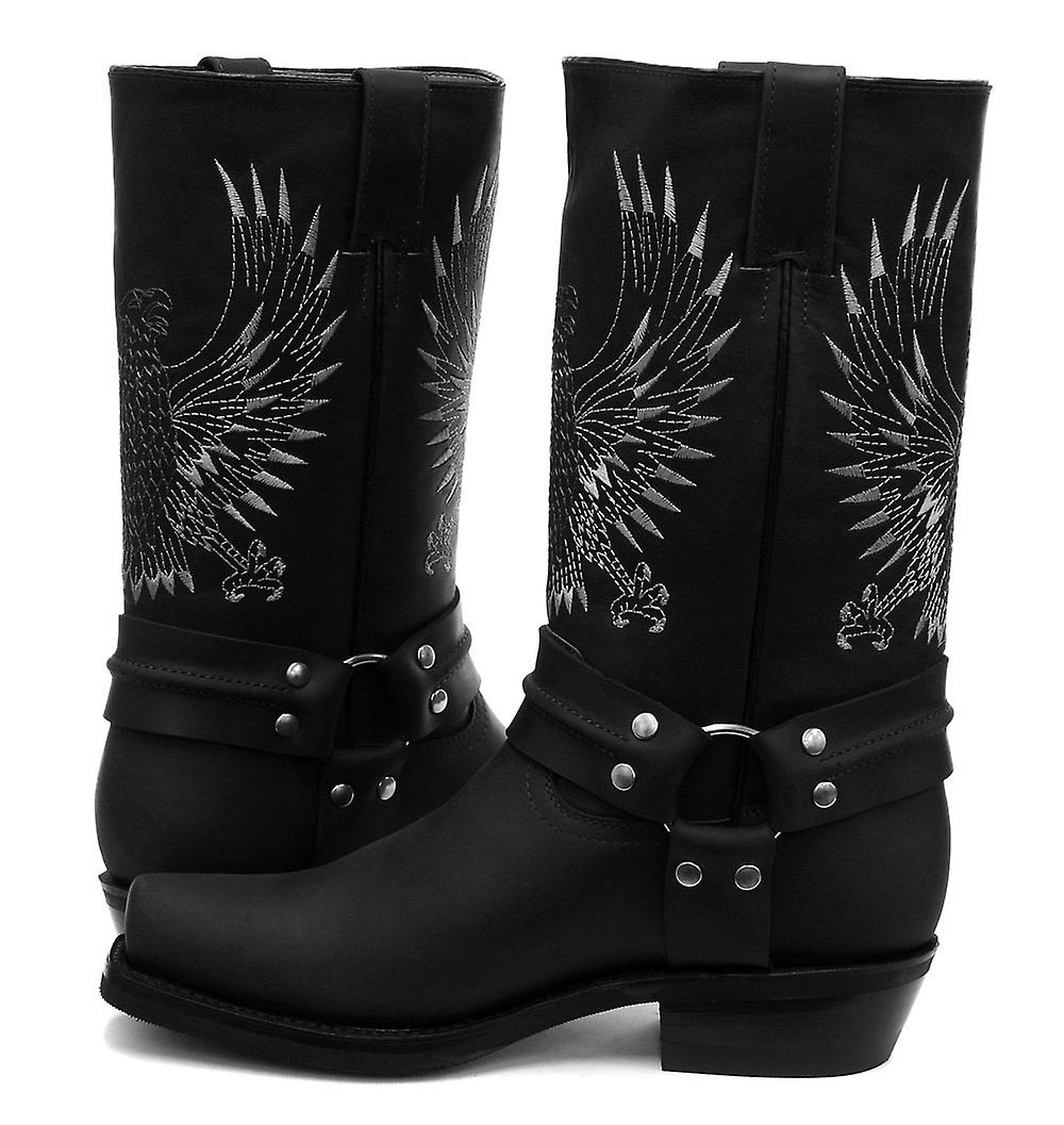 Grinders Bald Eagle Black Mens Cowboy Boots