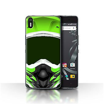STUFF4 Custodia/Cover per BQ Aquaris X5/Motocross/verde/moto casco