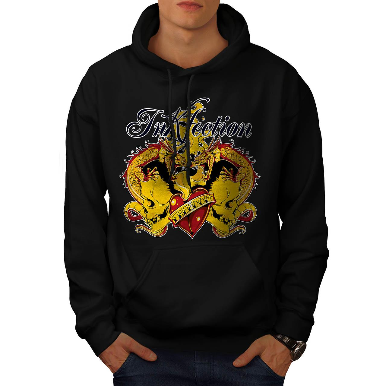Blekk infeksjon tatovering Dragon Dead Men svart Hoodie | Wellcoda