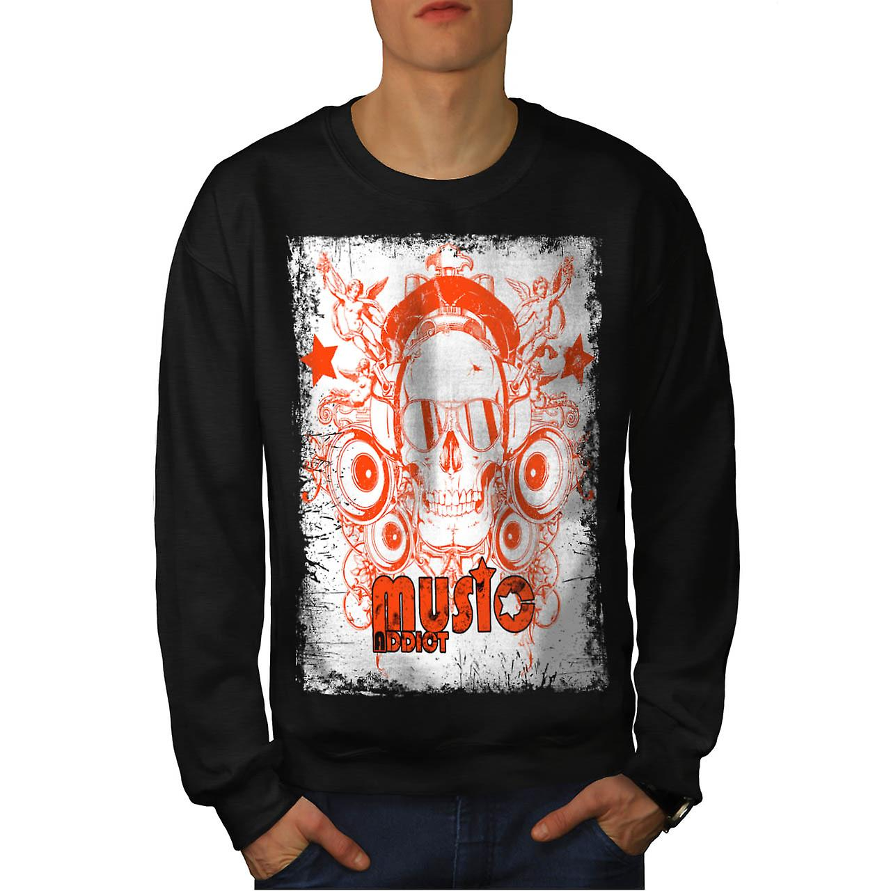 DJ Music Addict Beats Rave Skull Men Black Sweatshirt | Wellcoda