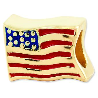 Sterling Silver Enamel Polished Antique finish Gold-Flashed Reflections Usa Flag Bead Charm