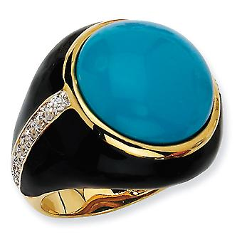Gold-Flashed Sterling Silver Blk Enam Simulated Turquoise and Cubic Zirconia Ring - Size 7