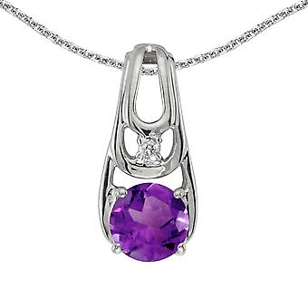 14k White Gold Round Amethyst And Diamond Pendant with 18