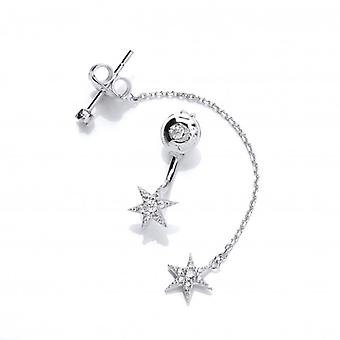 Cavendish French Silver and CZ Long and Short Star Earrings