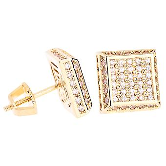 Iced out bling micro pave earrings - SLOPE 10 mm gold